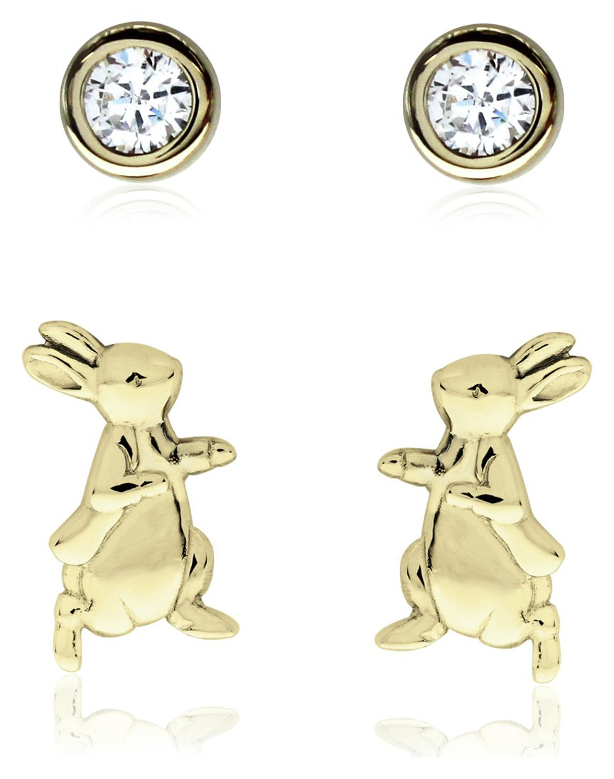 Beatrix Potter 9ct Gold Plated Silver Stud Earring Set of 2