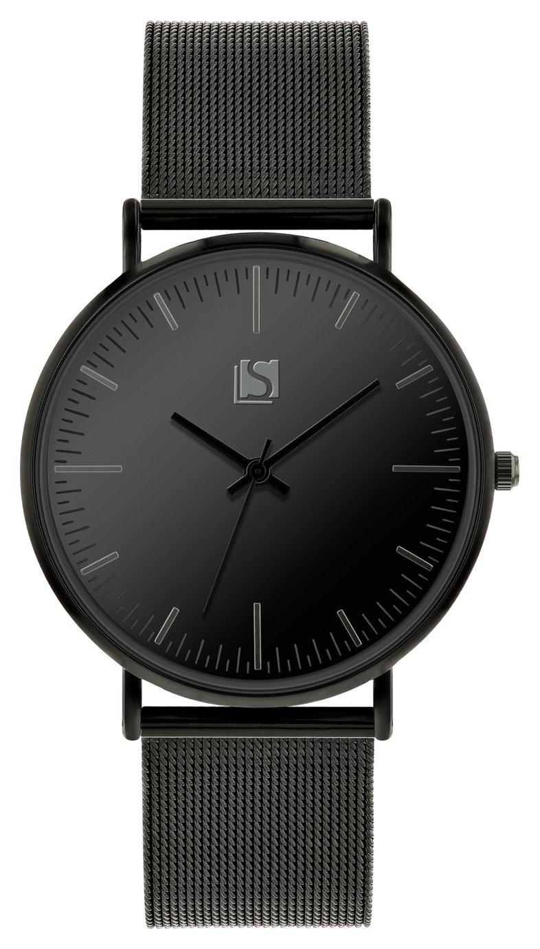Spirit Men's Black Mesh Metal Bracelet Watch