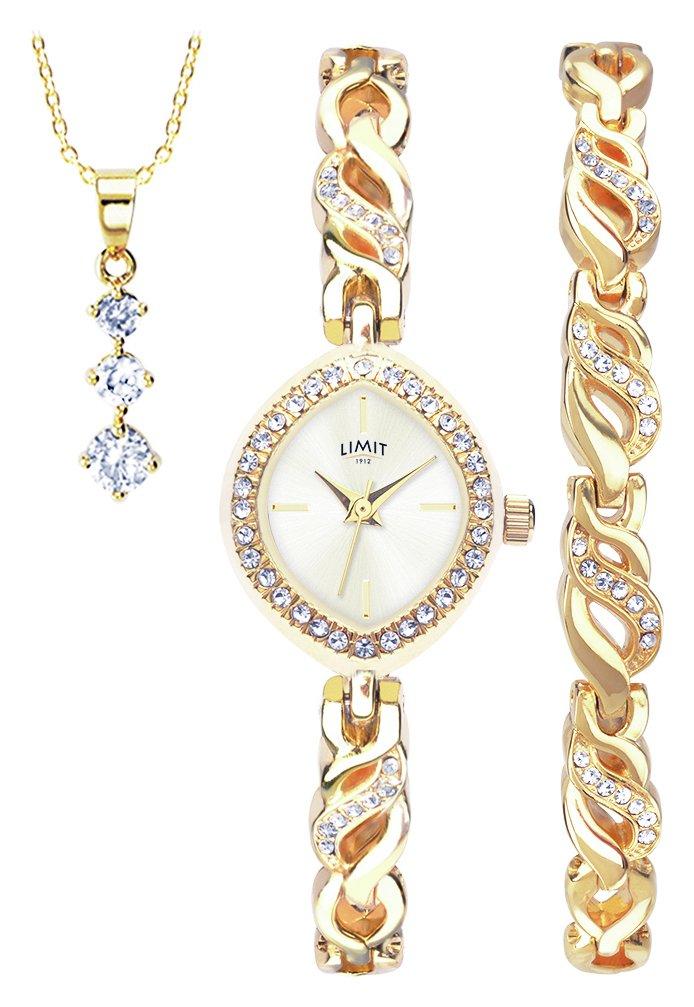 Limit Ladies' Gold Coloured Watch, Pendant and Bracelet Set