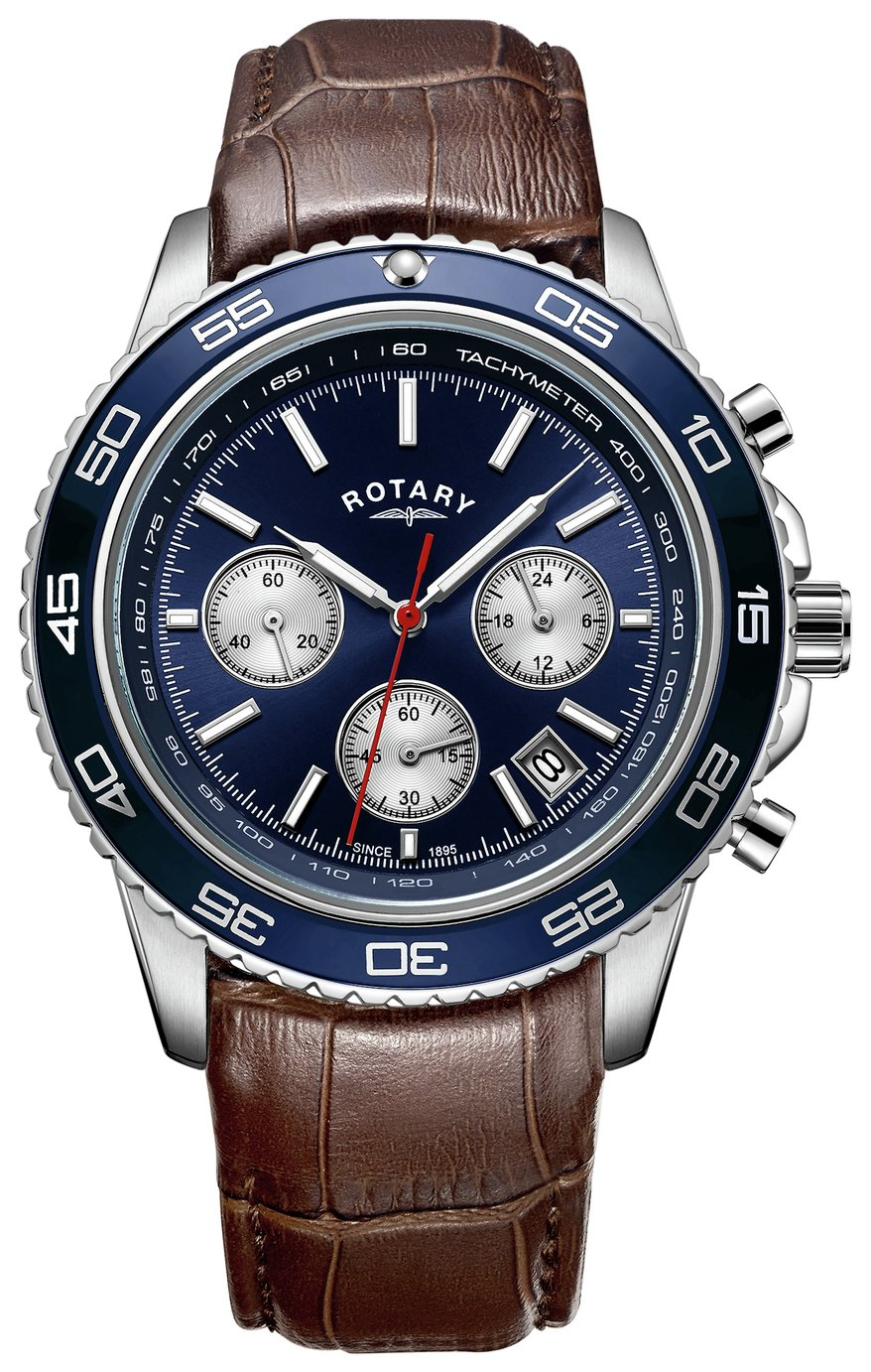 Rotary Men's Brown Leather Strap Chronograph Watch - Blue