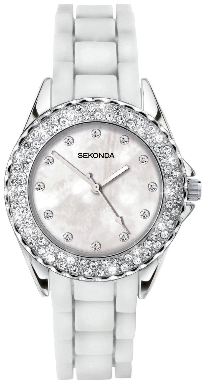 Sekonda Ladies' White Stone Set Silicone Strap Watch