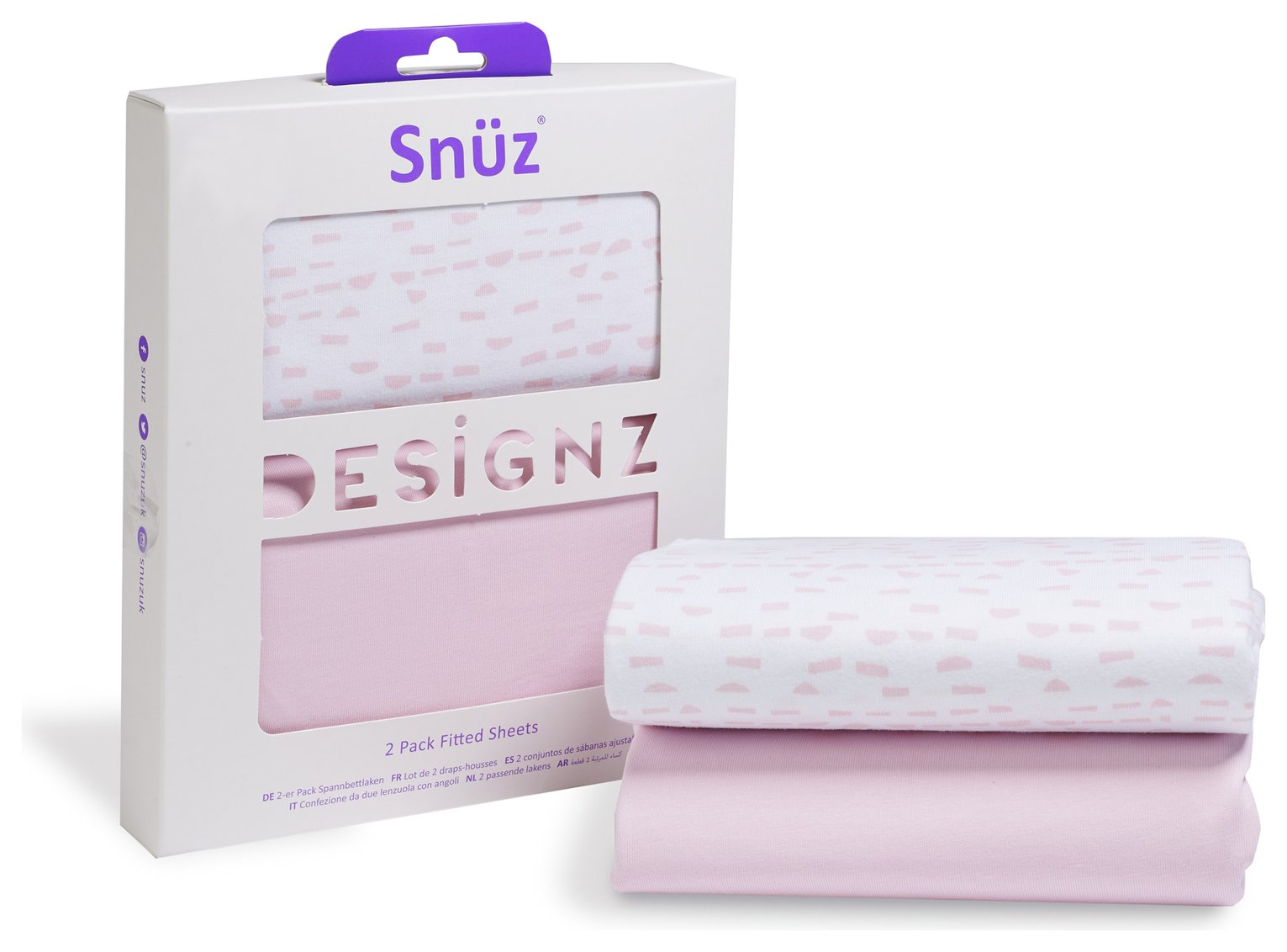 Snuz Fitted Crib Sheet 2 Pack - Rose