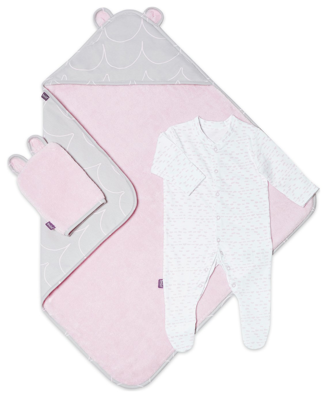 Snuz Baby Bath and Bed Set - Rose Wave