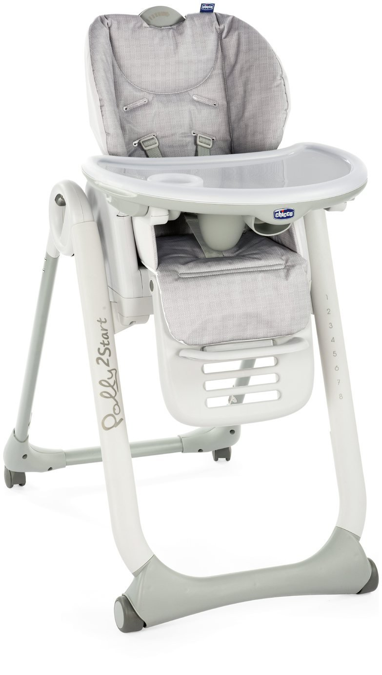 Chicco Polly 2 Start 4 Wheel Highchair - Happy Silver
