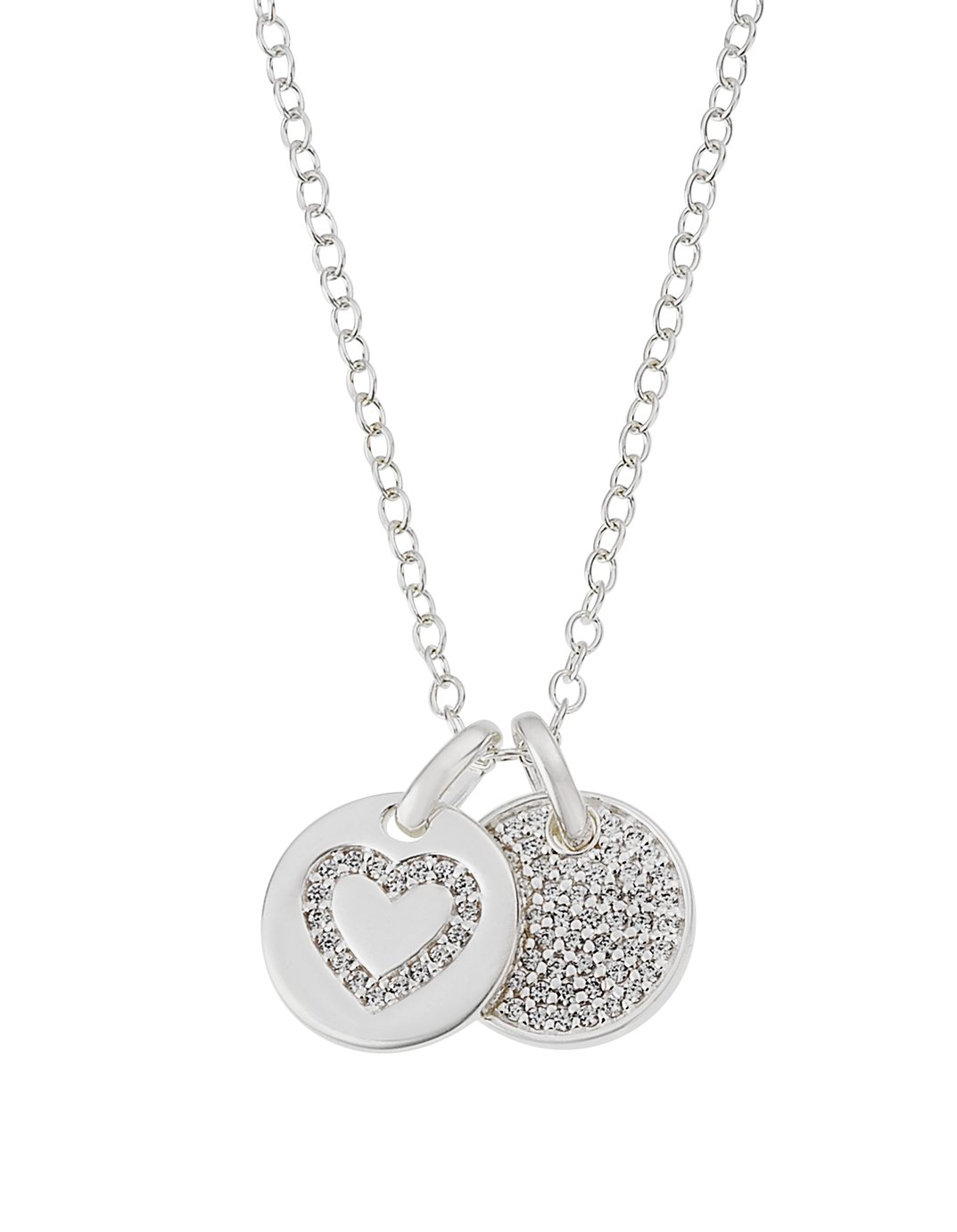 Revere Sterling Silver Two Disc Cubic Zirconia Pendant