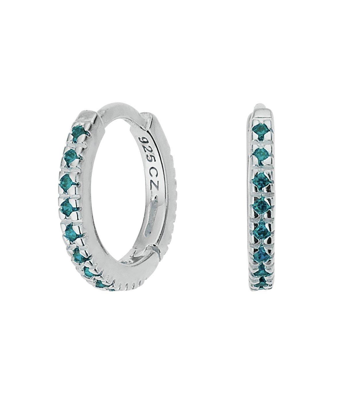 Revere Silver Pale Blue Cubic Zirconia Mini Hoop Earrings