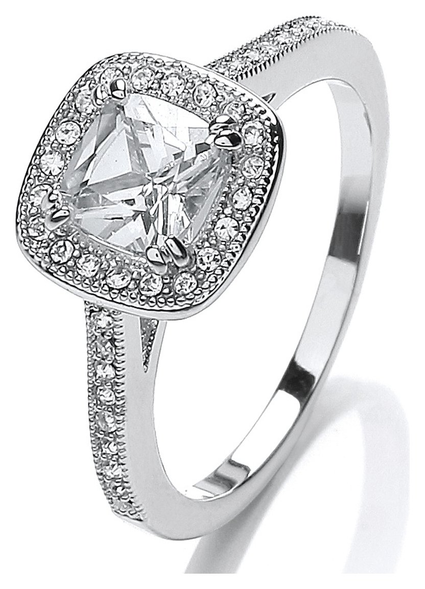 Buckley Silver Colour CZ Sparkle Cushion Ring - Small