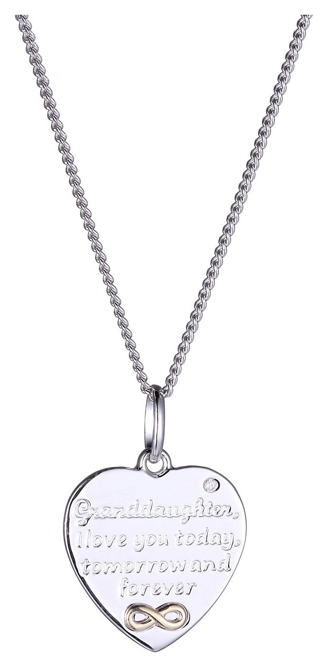 Moon & Back Gold Plated Diamond Accent Granddaughter Pendant