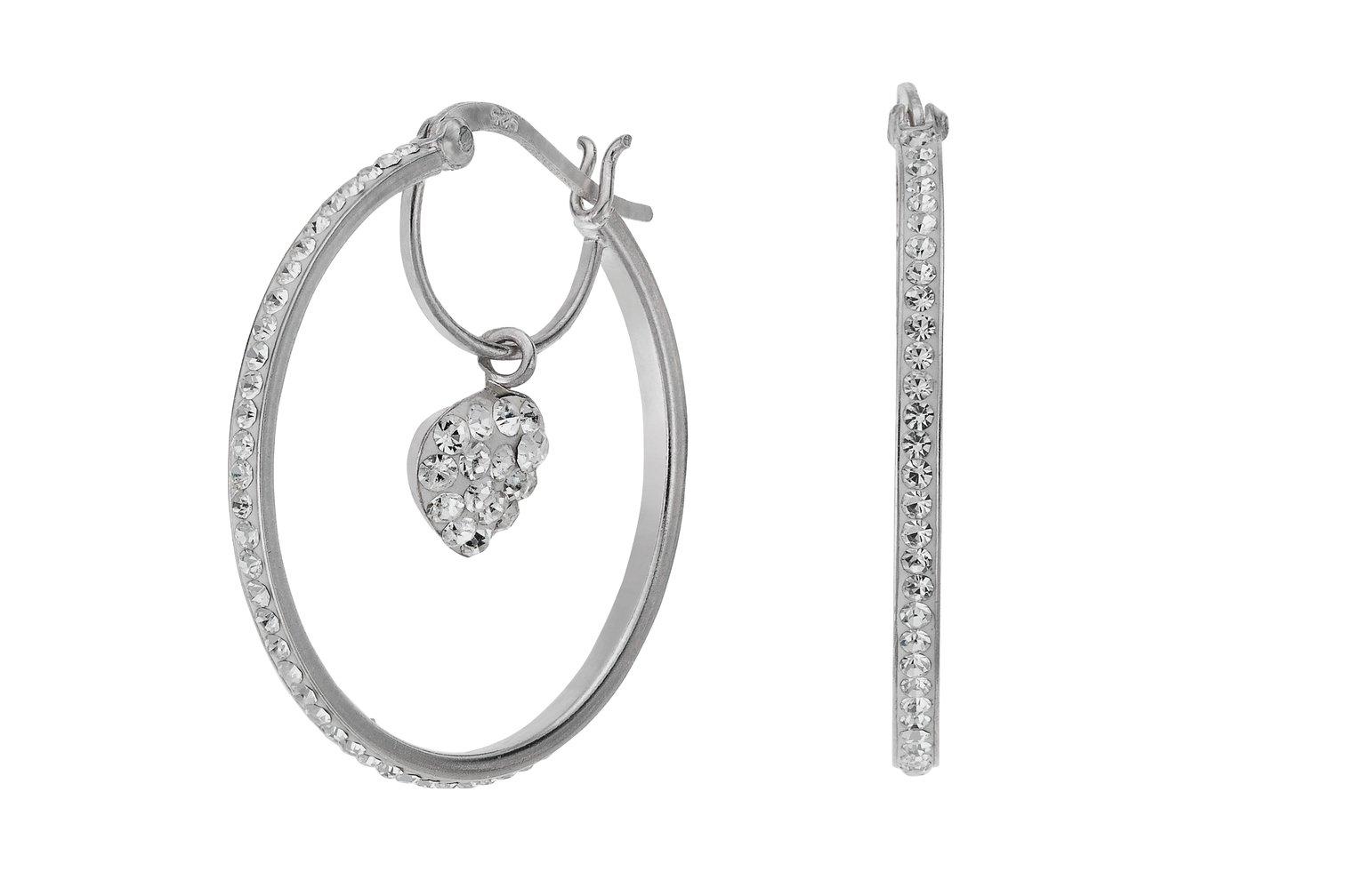 Revere Sterling Silver Crystal Heart Drop Hoop Earrings