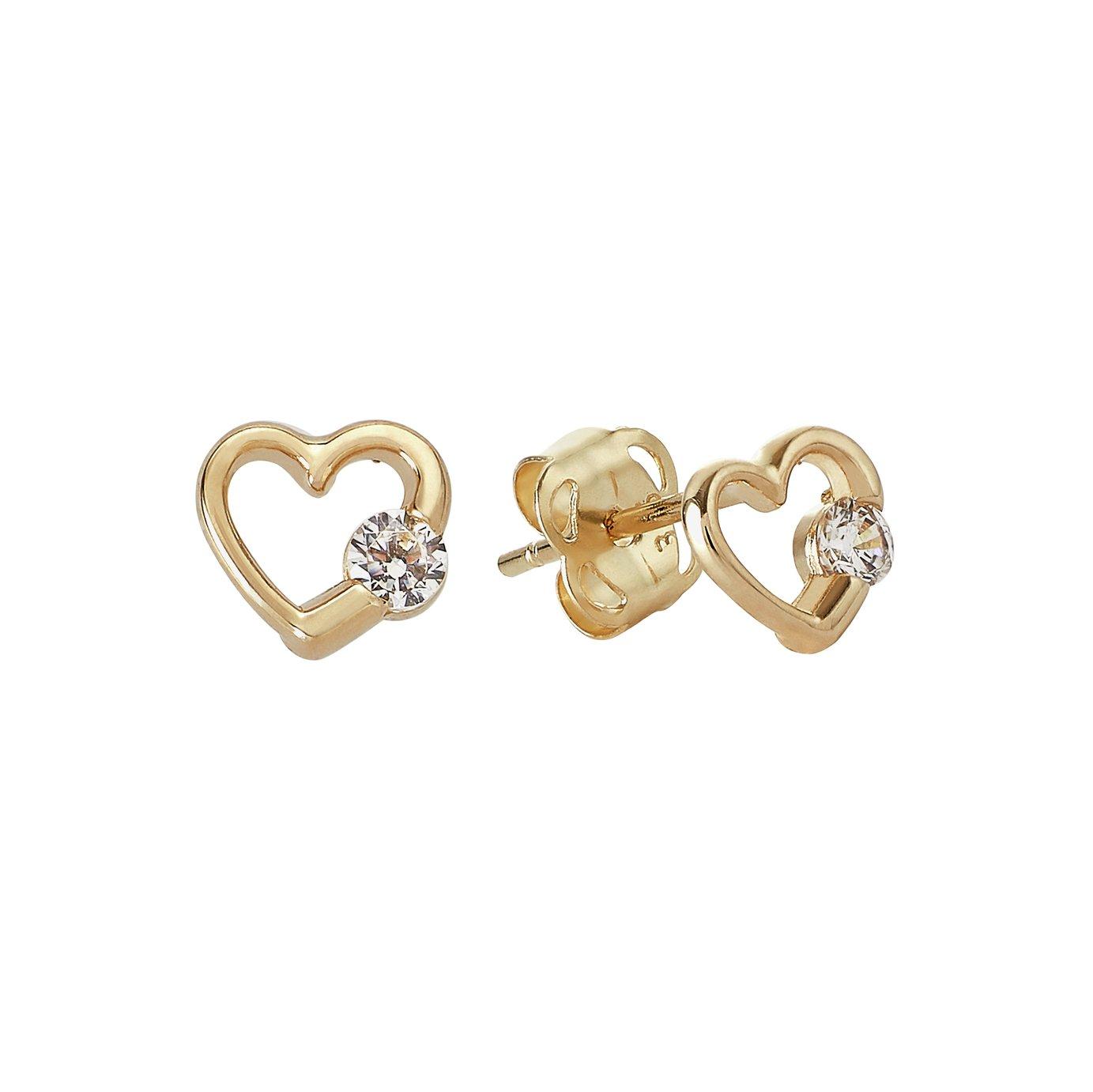 Revere Kid's 9ct Gold Cubic Zirconia Heart Stud Earrings
