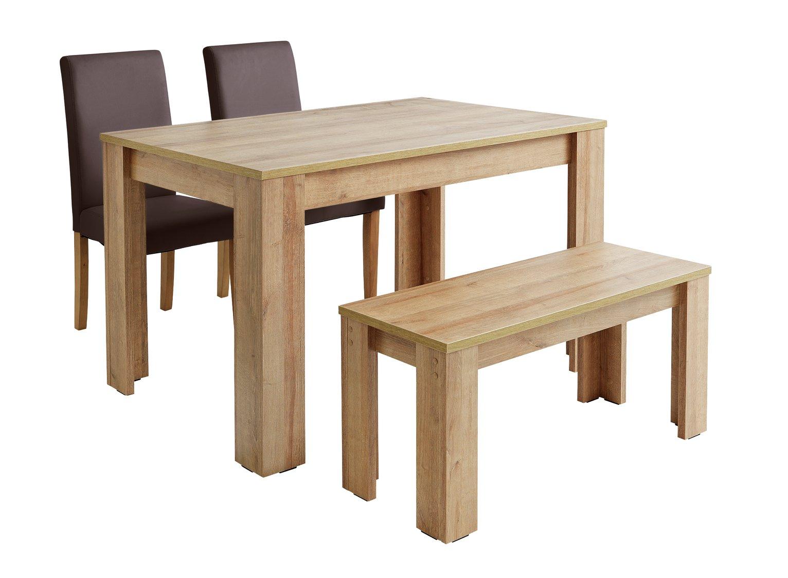 Argos Home Miami Oak Effect Table, Bench & 2 Chocolate Chair