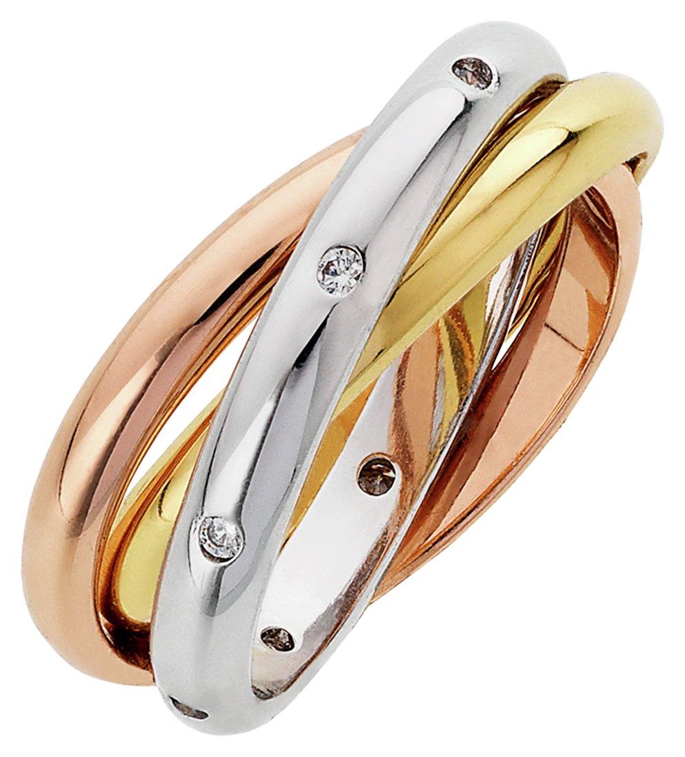 Buckley Three Tone Cubic Zirconia Russian Rings - Small