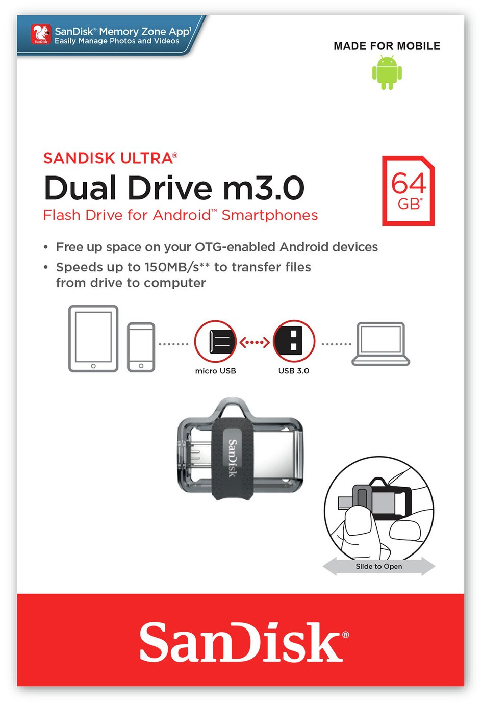 SanDisk Ultra Dual USB 3.0 Flash Drive - 64GB