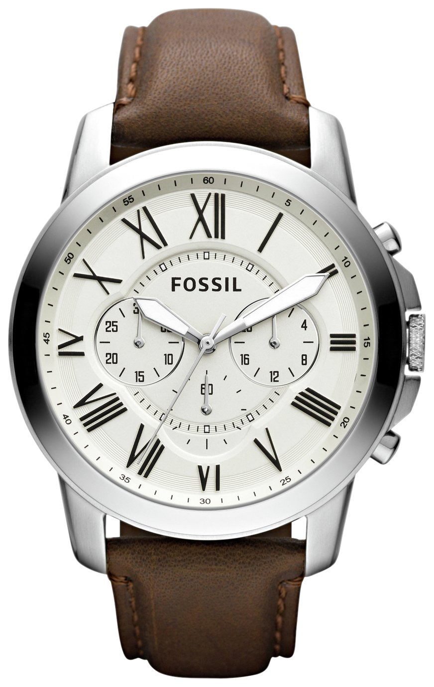 Fossil Grant Men's Brown Leather Strap White Dial Chronograph Watch
