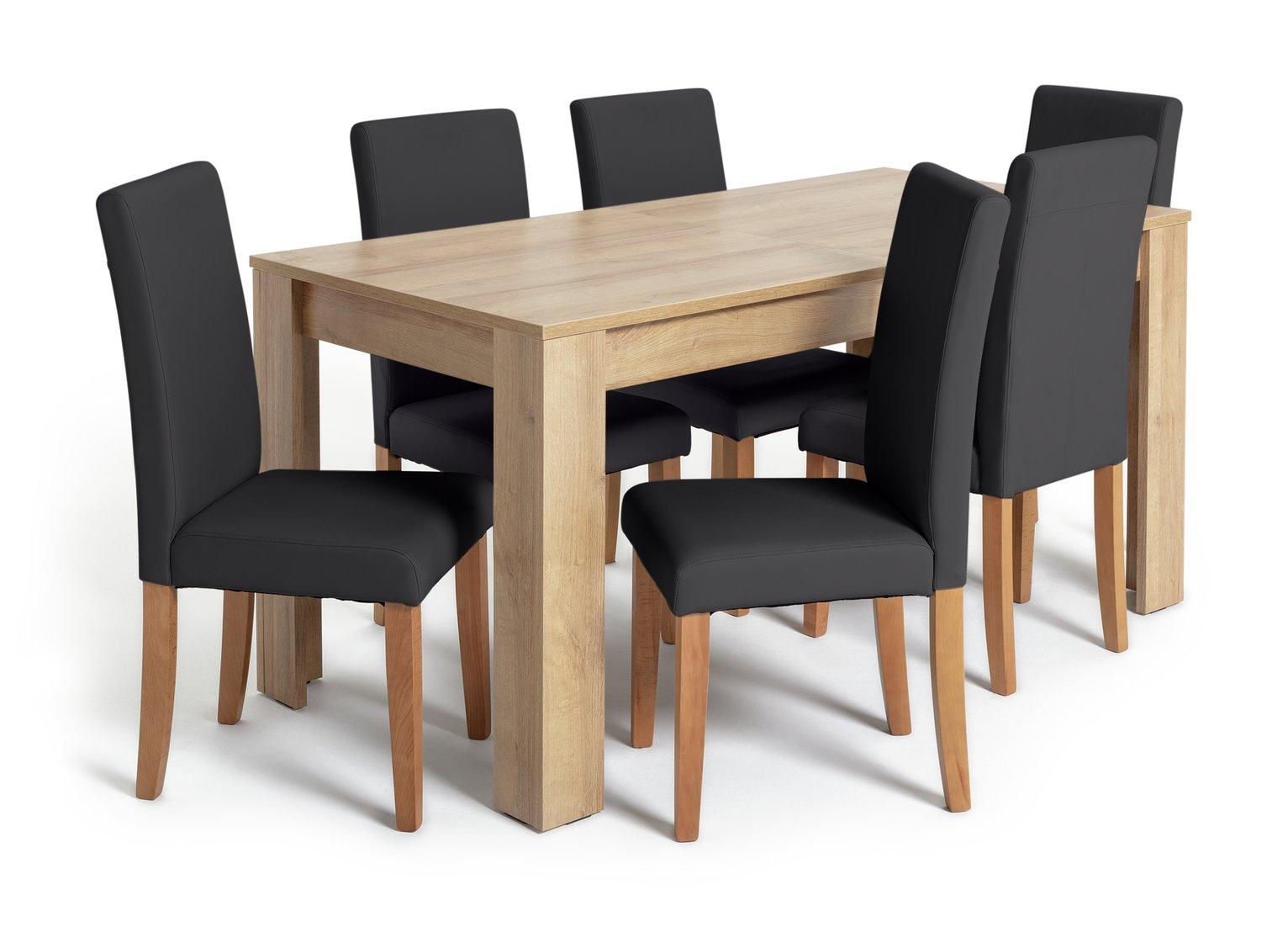Argos Home Miami XL Extending Table & 6 Black Chairs