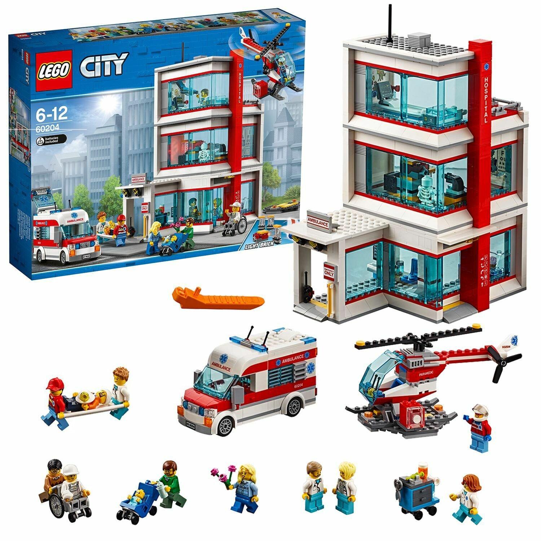 LEGO City Town Hospital Building Set with Light Bricks-60204