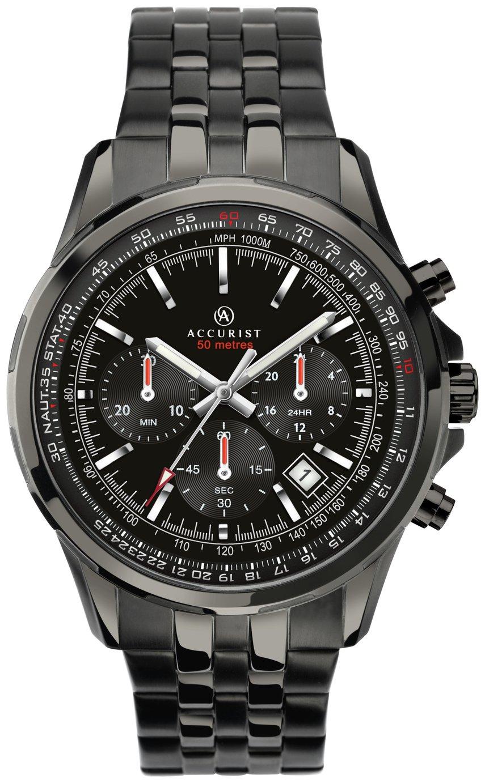 Accurist Men's Black Dial Stainless Steel Bracelet Watch