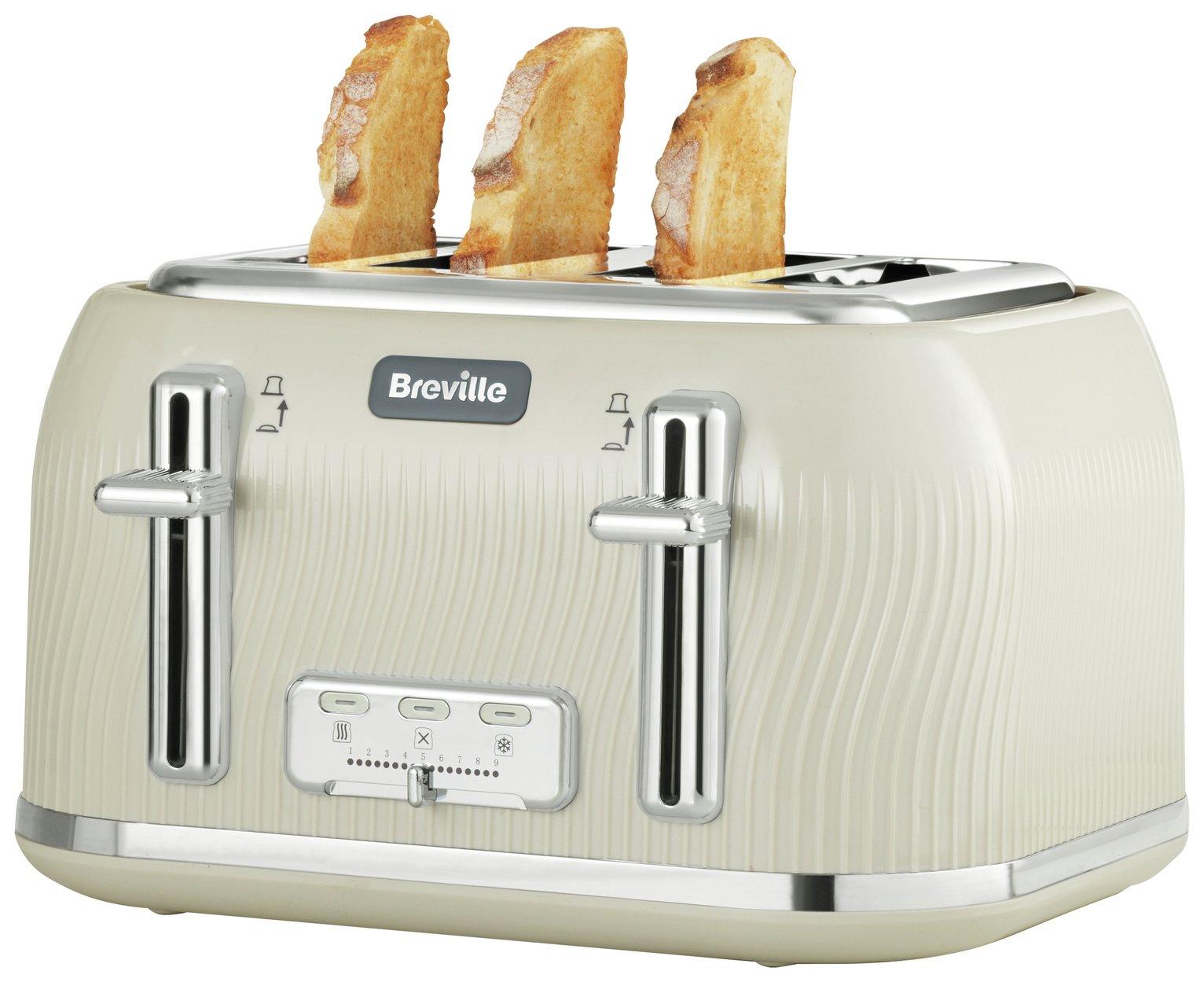 Breville VTT891 Flow 4 Slice Toaster - Cream