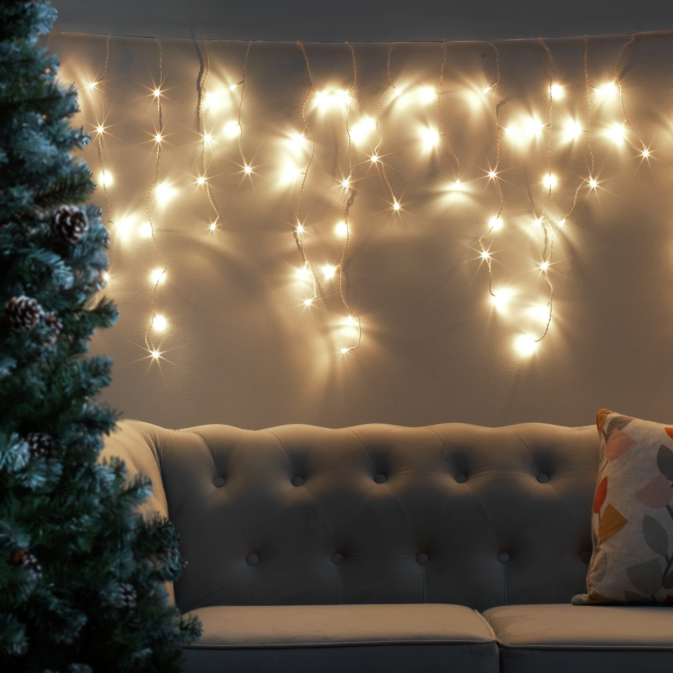 Argos Home Set of 160 Icicle String Lights - Warm White