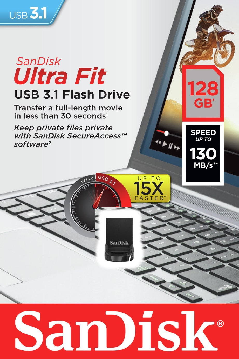 SanDisk Ultra Fit 130MB/s USB 3.1 Flash Drive - 128GB