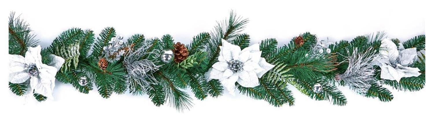 Premier Decorations 1.8 Metre Poinsettia Garland - White