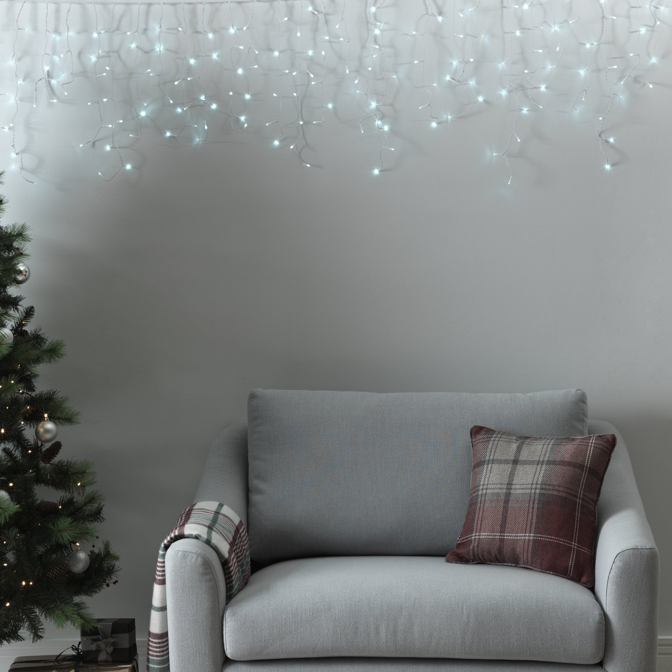 Argos Home 720 Icicle Lights - White