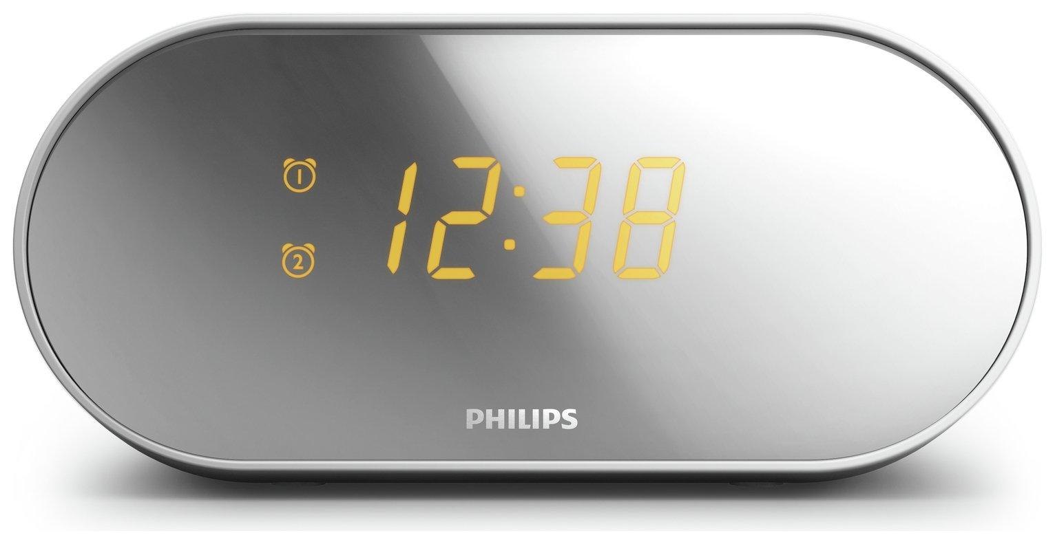Philips AJ2000 FM Clock Radio - Silver