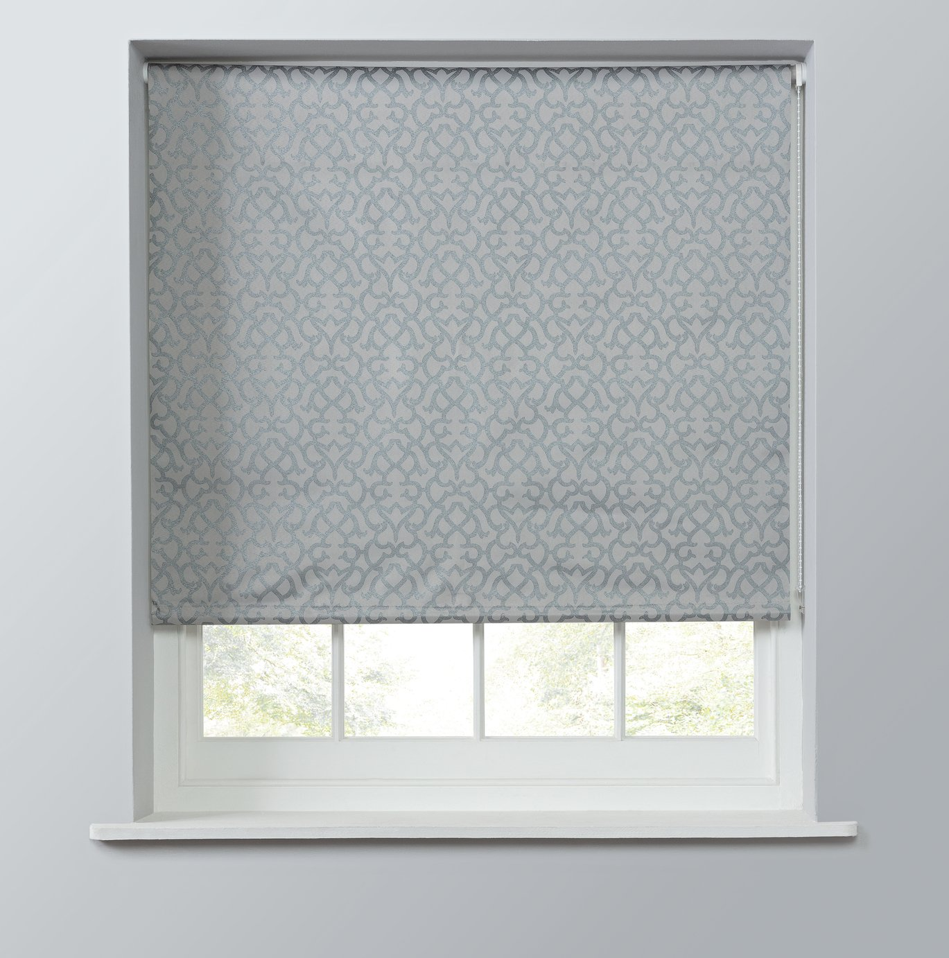 Argos Home Metallic Geo Daylight Roller Blind - 6ft - Silver