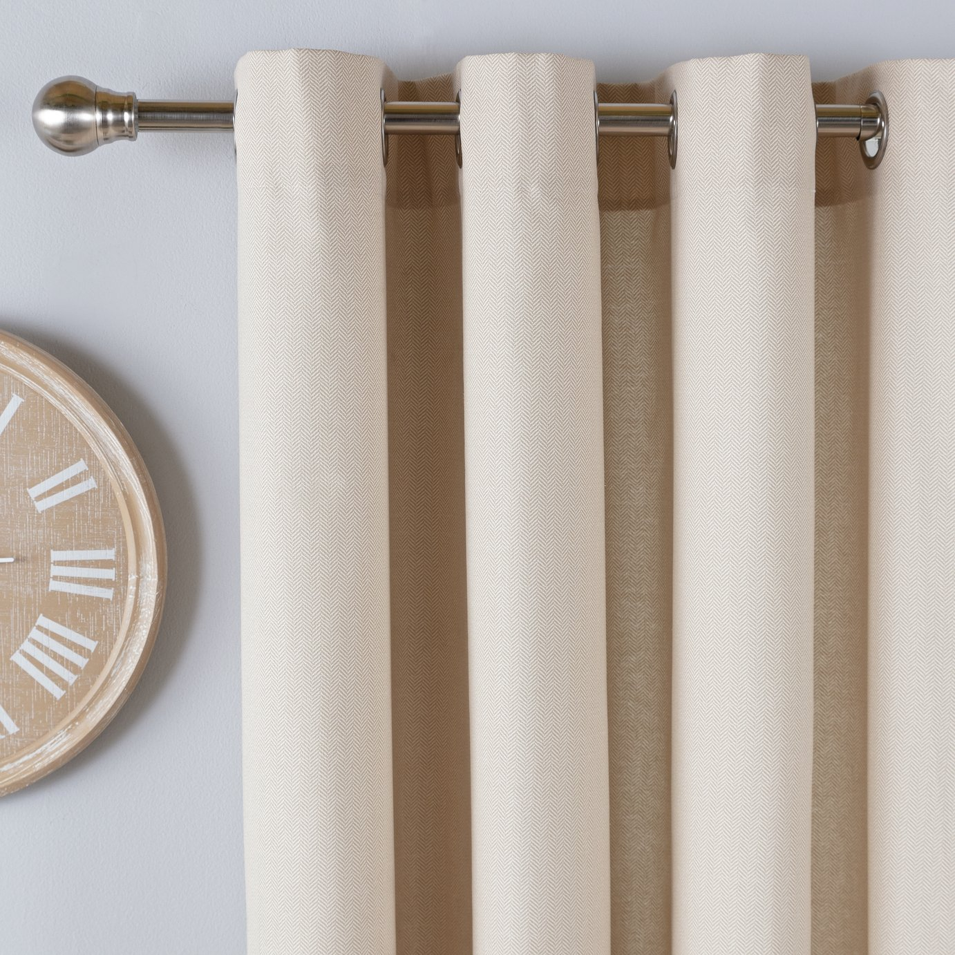 Argos Home Herringbone Lined Eyelet Curtains - Natural