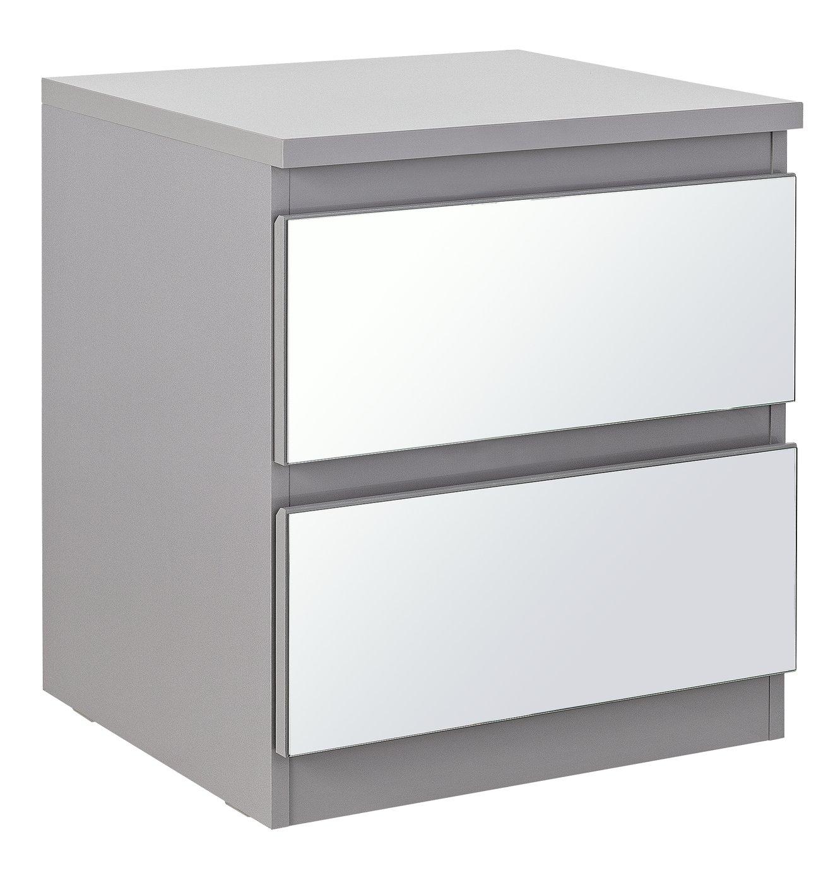 Argos Home Jenson Gloss 2 Drw Mirror Bedside Cabinet - Grey