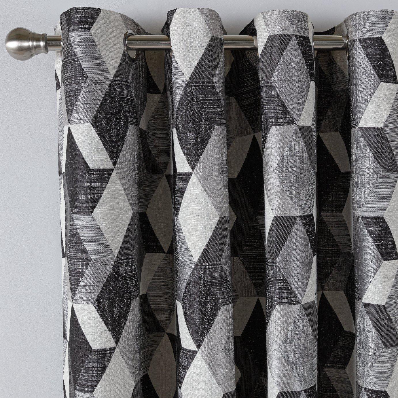 Argos Home Geometric Lined Eyelet Curtains - Monochrome
