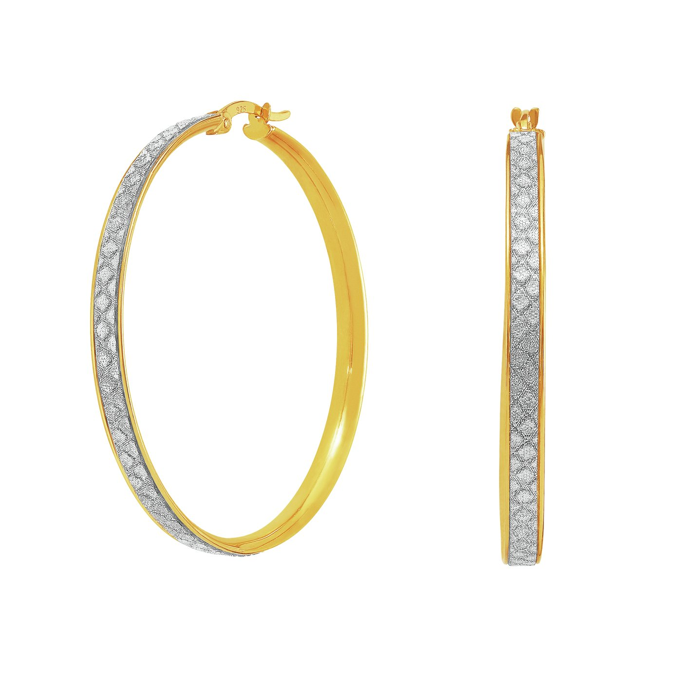 Revere 9ct Gold Plated Silver Glitter Hoop Earrings