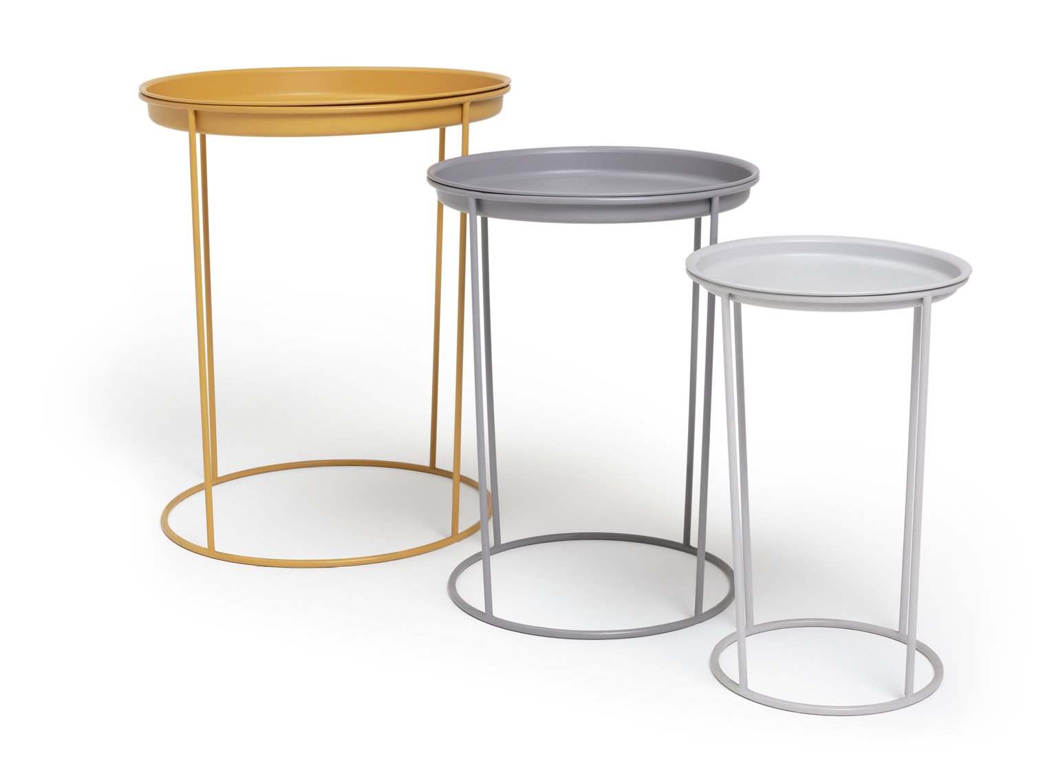 Argos Home Finley Nest of 3 Tables - Grey & Yellow