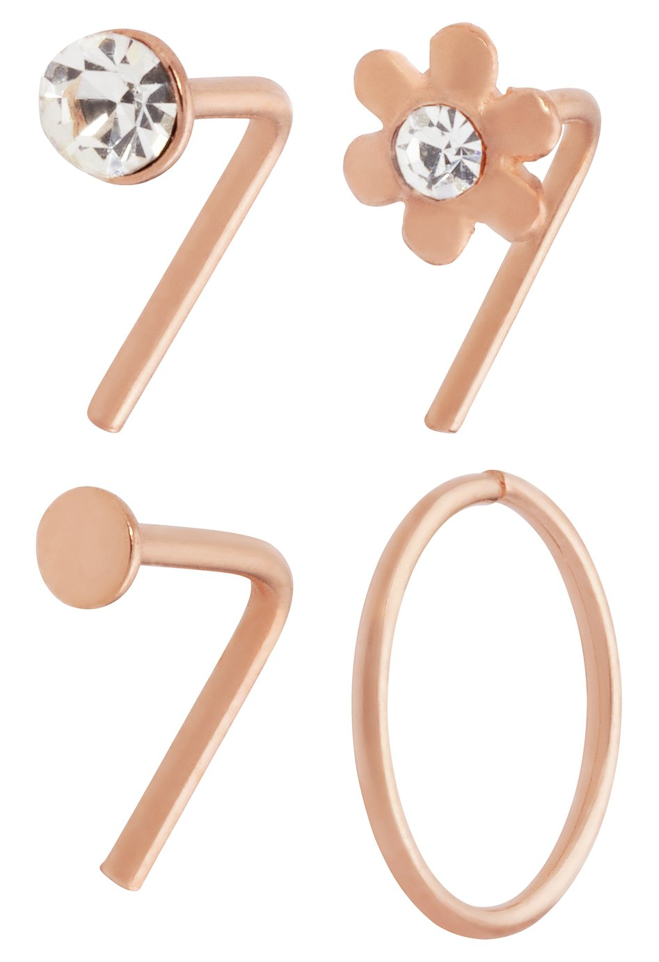 State of Mine Rose Gold Nose Hoop and Stud - Set of 4