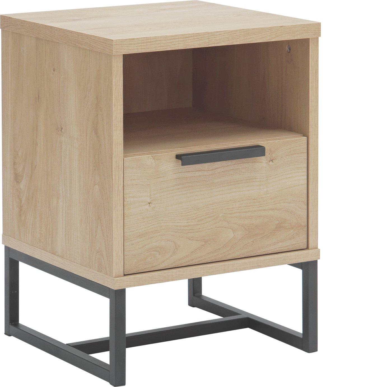 Argos Home Nomad 1 Drawer Bedside Cabinet - Light Oak Effect