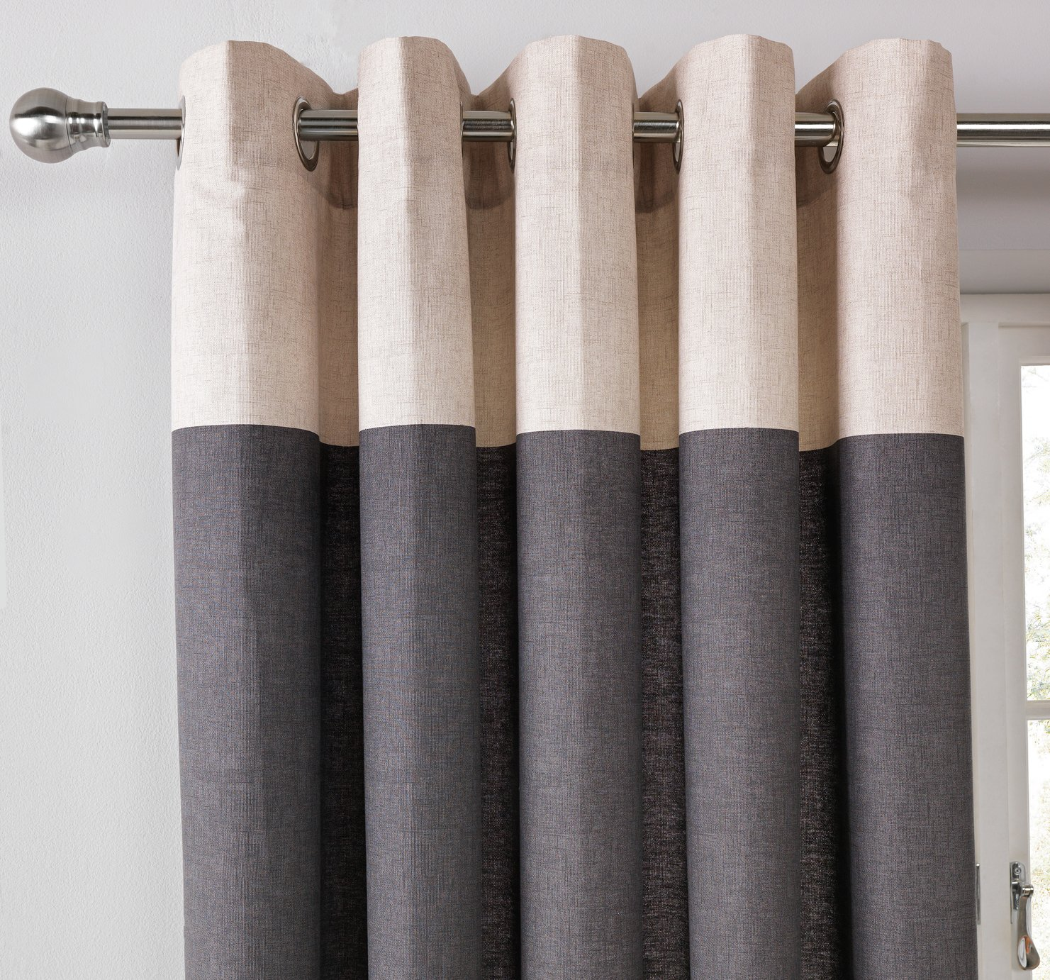 Argos Home Printed Header Unlined Eyelet Curtains - Charcoal