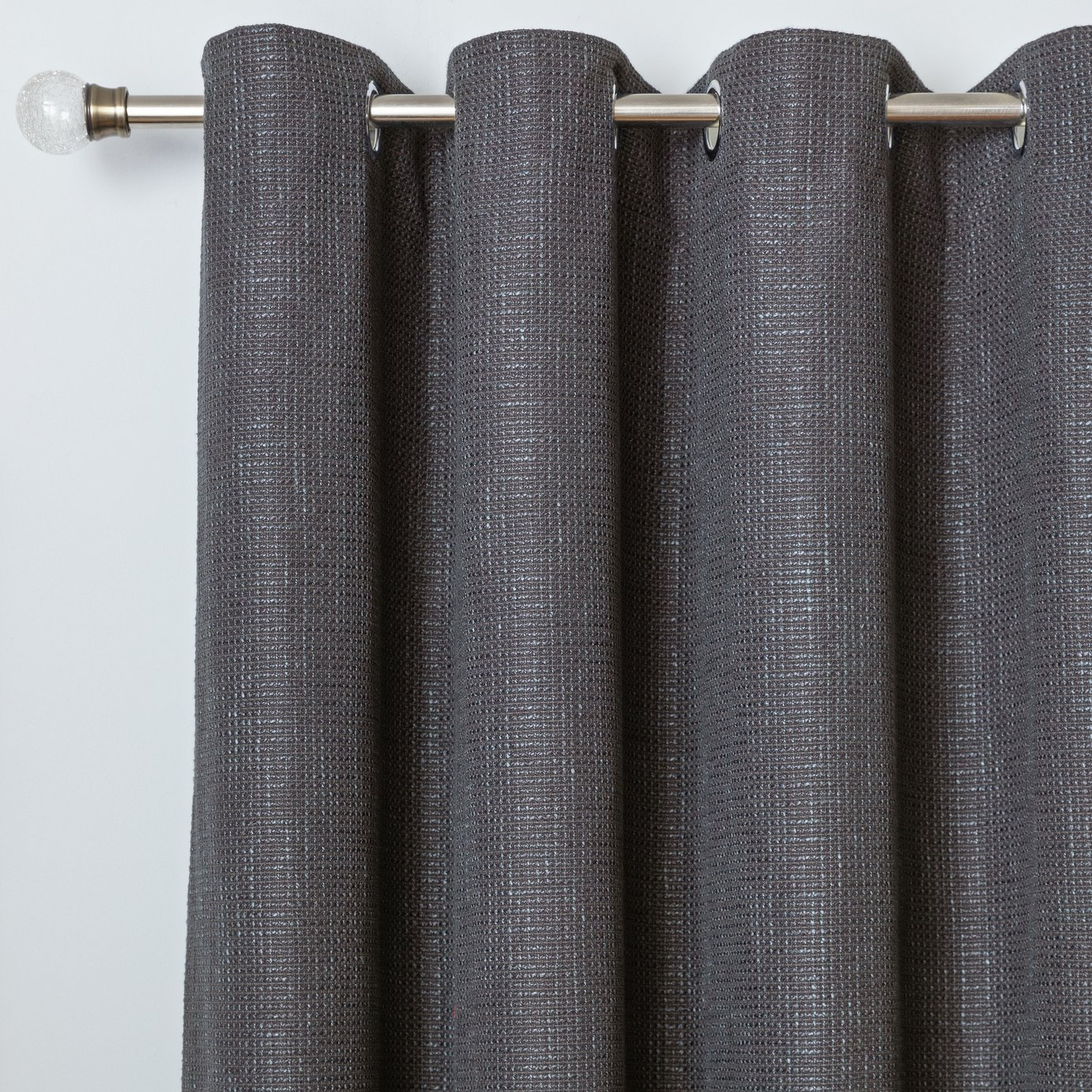 Argos Home Weave Blackout Lined Eyelet Curtains - Black
