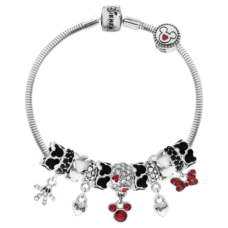 Disney Classic Mickey and Minnie Mouse Charm Bracelet