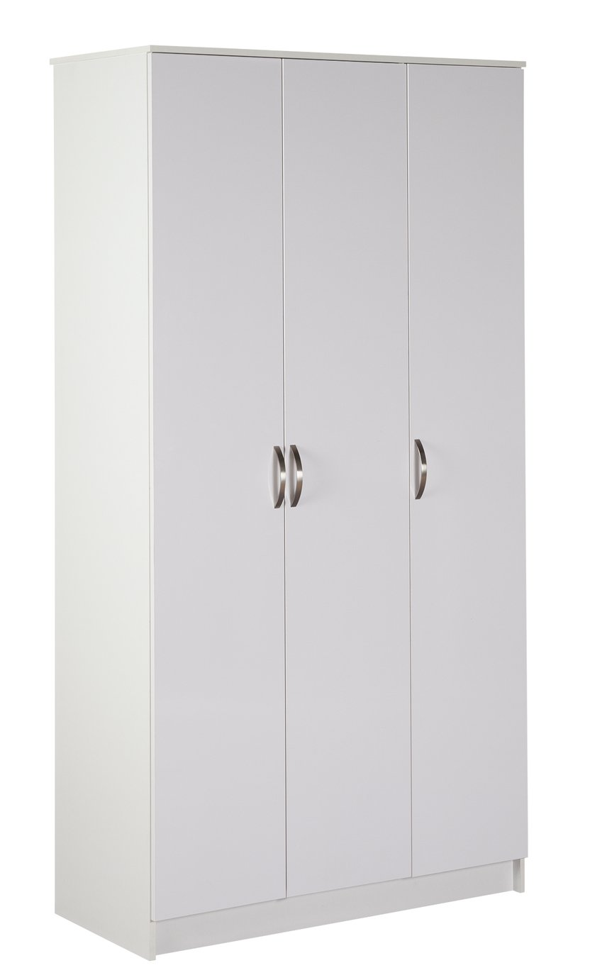 Argos Home Cheval 3 Door Gloss Wardrobe - White