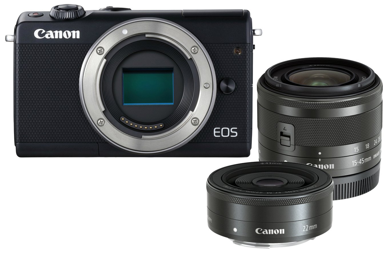 Canon EOS M100 Mirrorless Camera with 15-45mm & 22mm Lenses