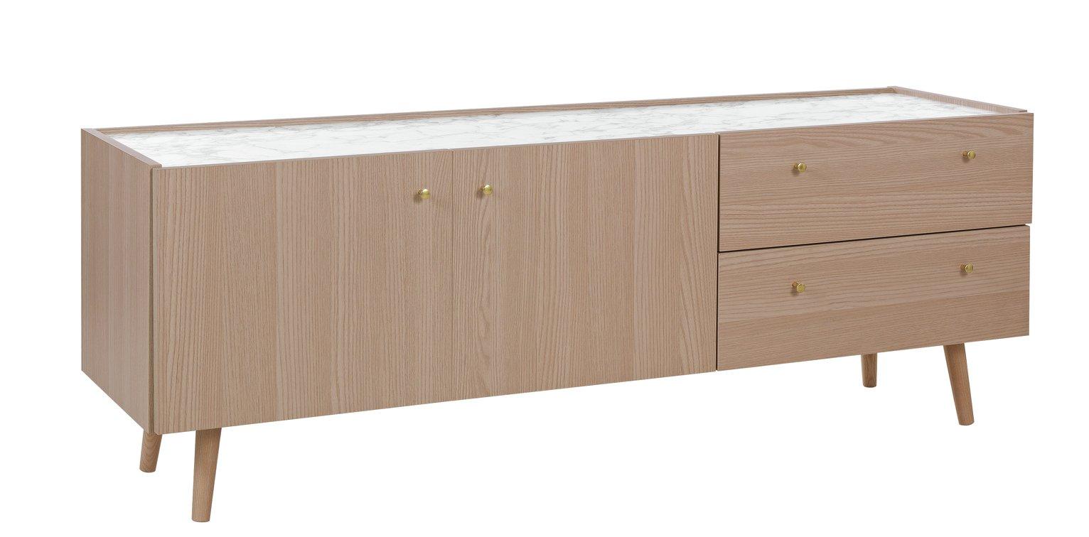 Argos Home Evelyn Marble Top TV Sideboard - Light Oak Effect