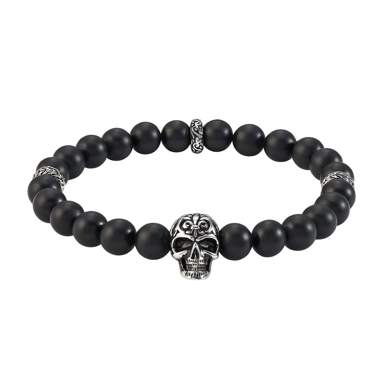 Revere Men's Stainless Steel with Skull Bead Bracelet